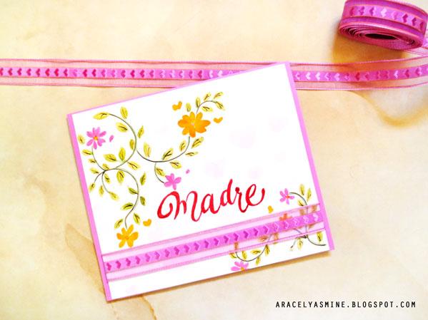 tarjeta para el dia de la madre con acuarelas