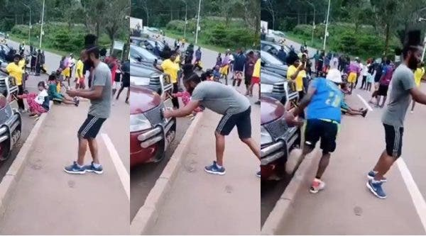 Drama as thief stole a man's phone after he positioned it to record himself dancing (Video)