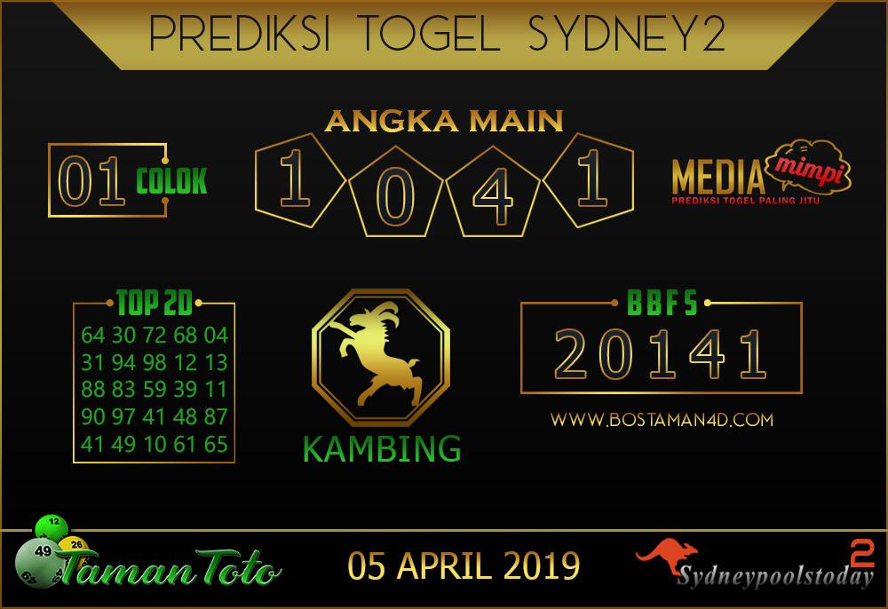 Prediksi Togel SYDNEY 2 TAMAN TOTO 05 APRIL 2019