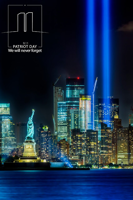 Image of New York skyline, with memorial lights in place of Twin Towers