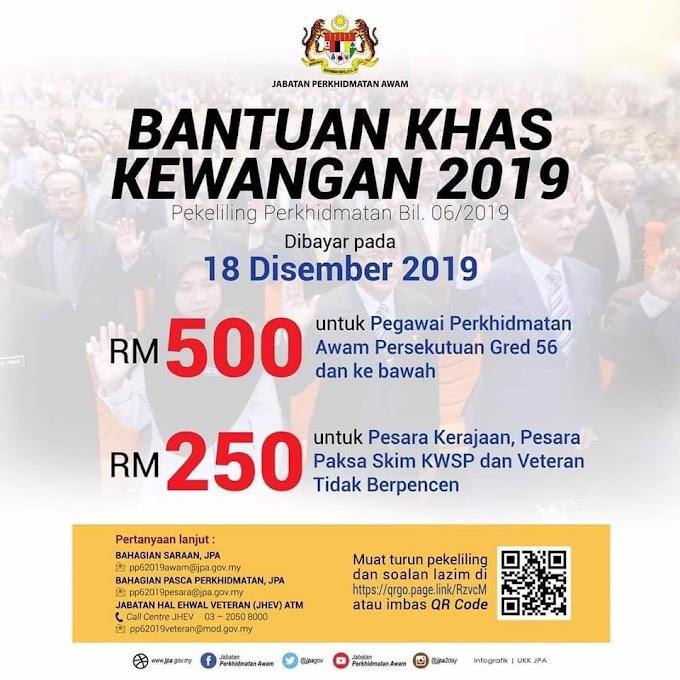 Tarikh Bayaran Bonus Bantuan Khas Penjawat Awam 2019