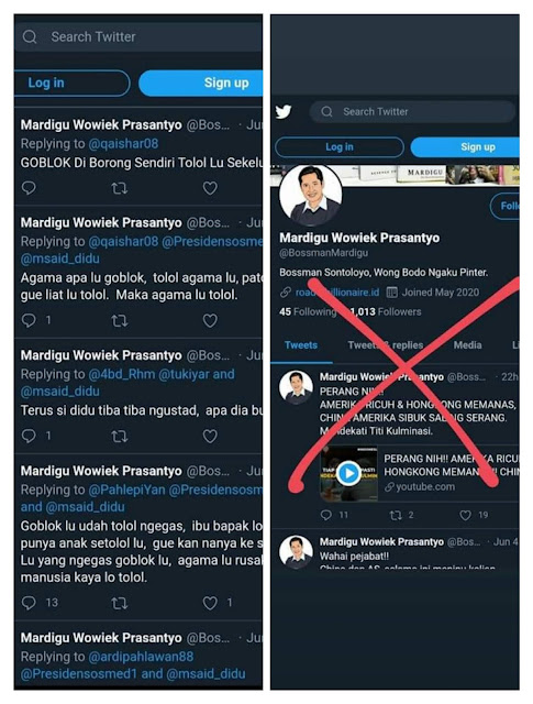 Akun twitter palsu mardigu wp