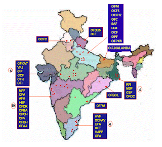 Distribution of Indian Ordnance Factories all over India
