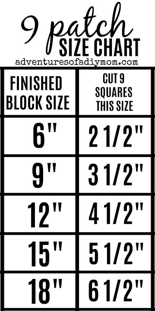 size chart to create nine patch quilt blocks