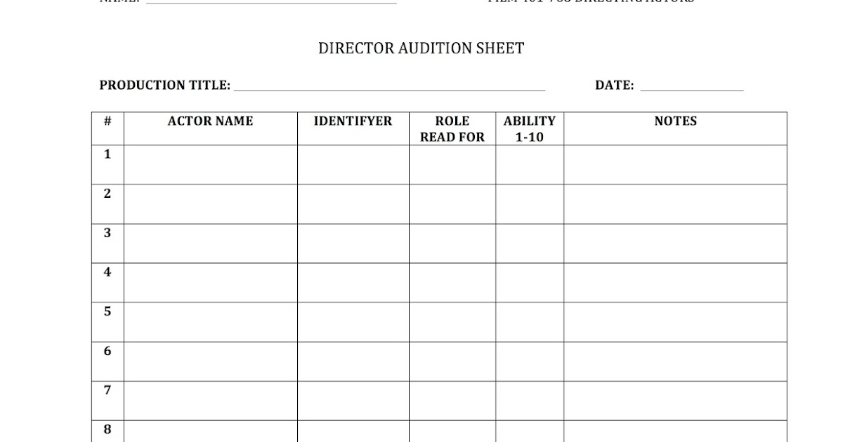 Scad/Film 328: Directing Actors: Mock Audition- Director Form