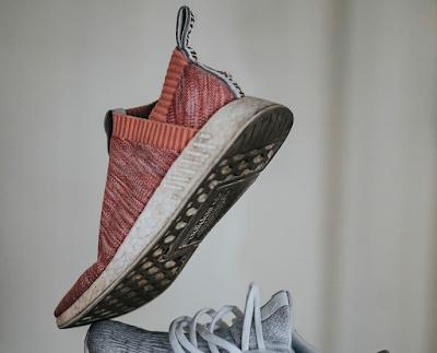 Shoes falling through the air