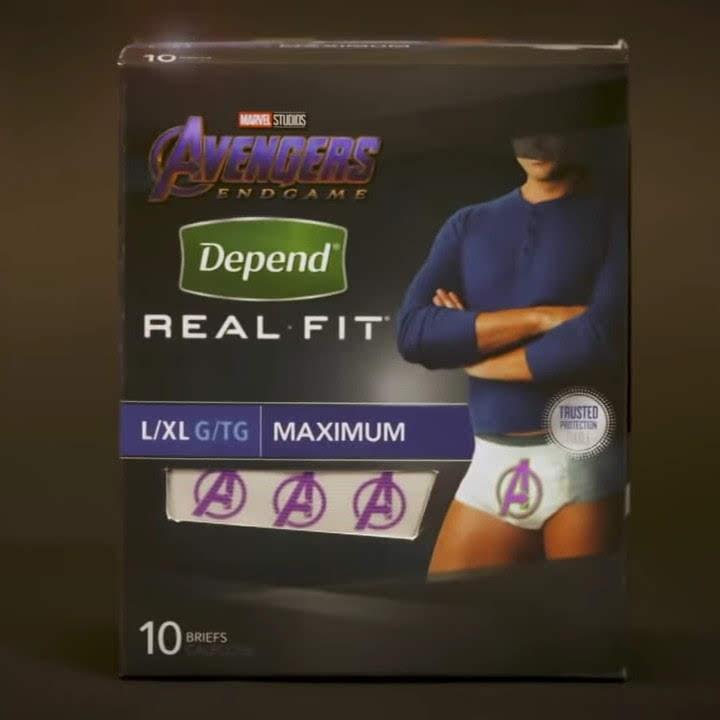 Avengers Undergarments : 約3時間1分の長尺の「エンドゲーム」を観ながら、心置きなく飲み食いができるように、大人用のアベンジャーズおむつが新発売 ! ! されるわけがないパロディのCM ! ! 😆