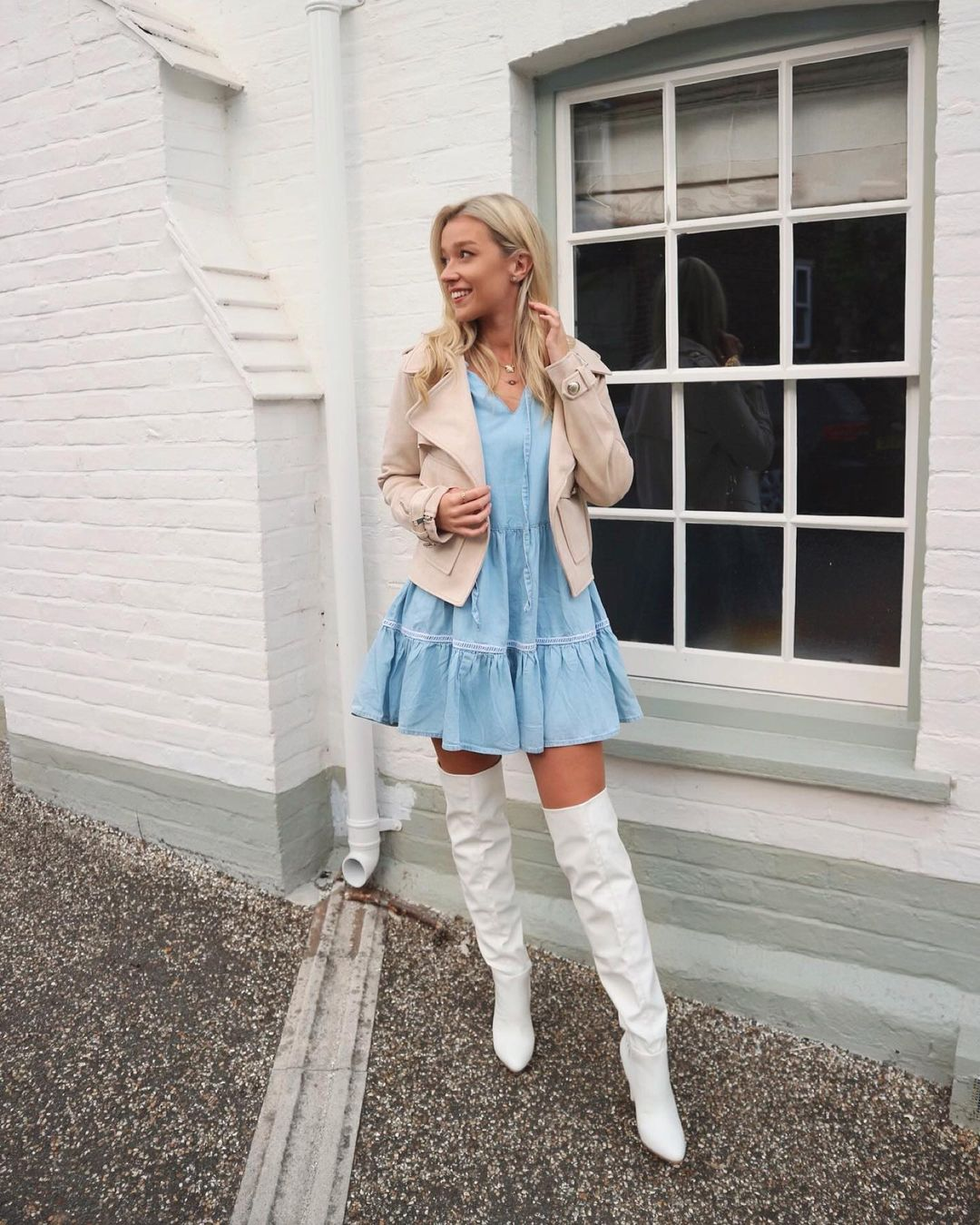 Flare dress and long white boots