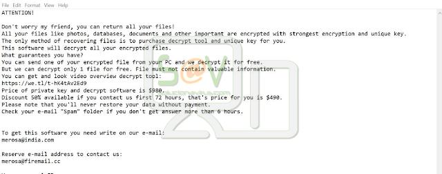 Merosa@india.com Raldug (Ransomware)