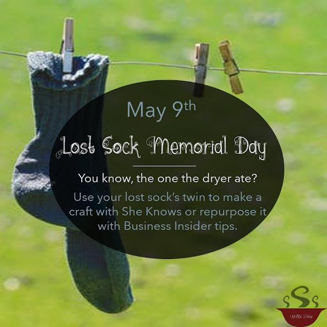 May 9, 2020, a day to honor all the lost socks that served you well.  To commemorate, use the sock twin in a craft or repurpose it in useful ways.