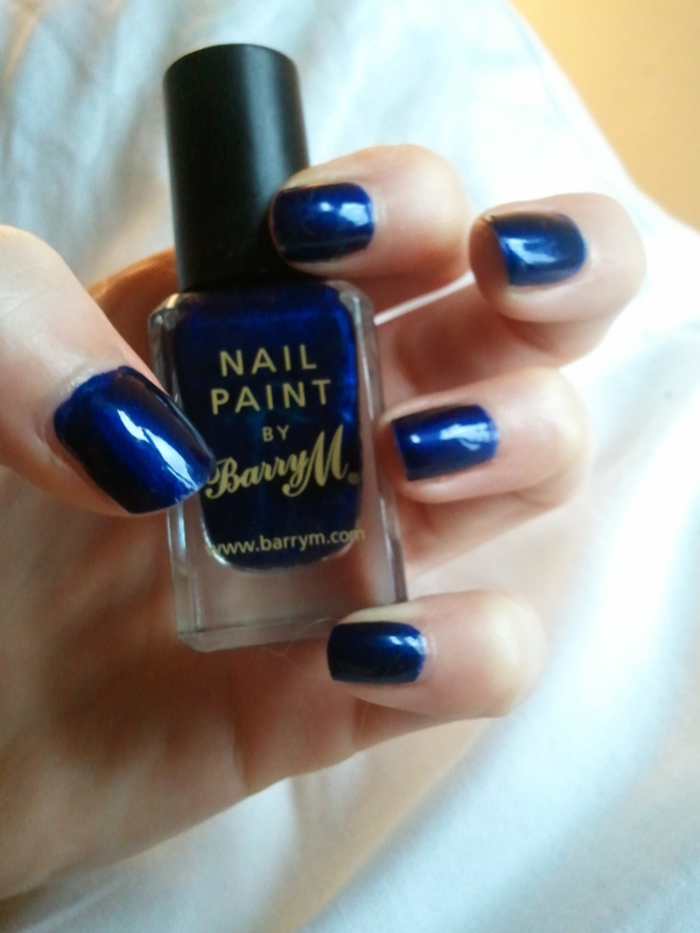 Barry M Navy nail polish and Seche Vite top coat