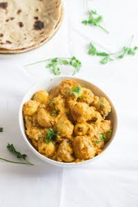 Vegan glutenfree creamy north indian punjabi dum aloo baby potatoes masala gravy