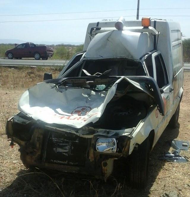 Cavalo solto na pista provoca acidente na BR 405 com ambulância de José da Penha