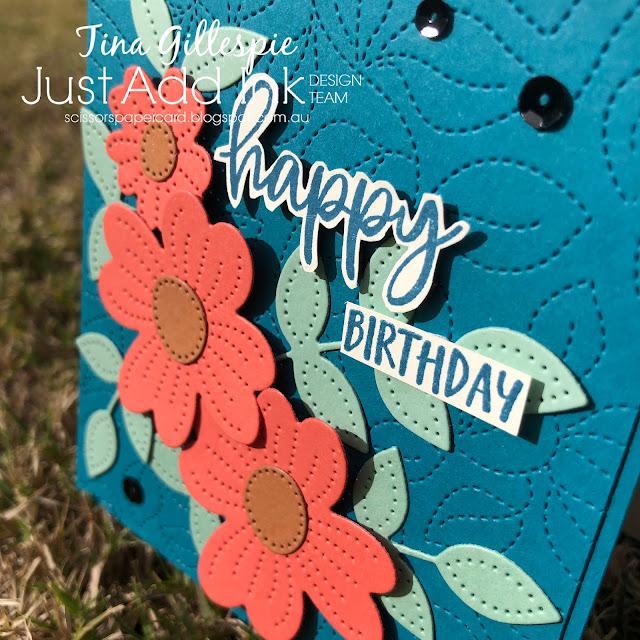 scissorspapercard, Stampin' Up!, Just Add Ink, Pretty Perennials, Biggest Wish, Joy To The World, Pierced Blooms Dies, Stitched Greenery Dies