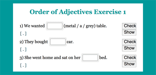 Order of Adjectives exercises