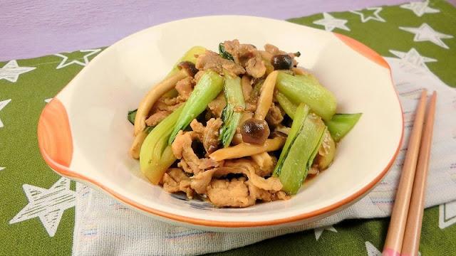 チンゲン菜と豚肉のカレー炒め
