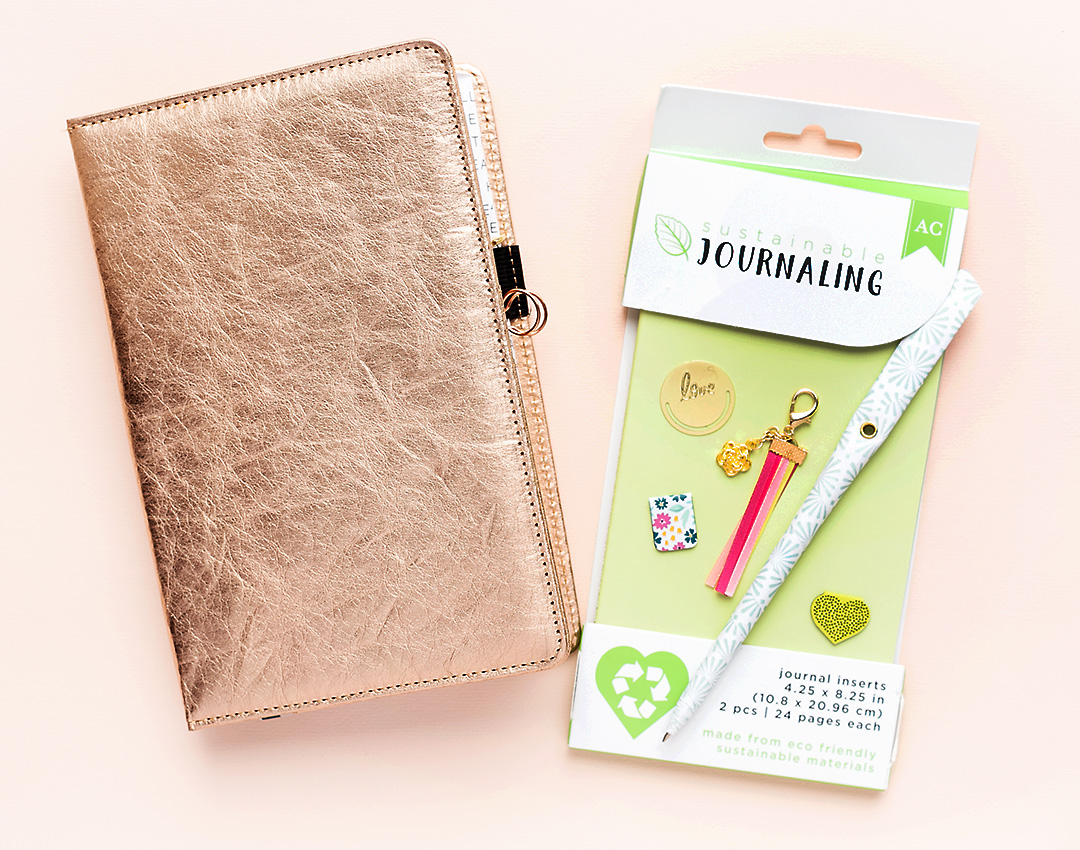 Rose gold planner from the Sustainable Journaling Collection by American Crafts