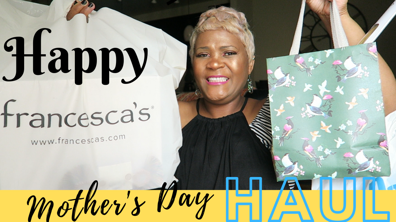 Image: Tangie Bell holding up shopping bags to share what she bought herself for Mother's Day. She is also sharing a haul with last minute ideas to buy for your loved ones.