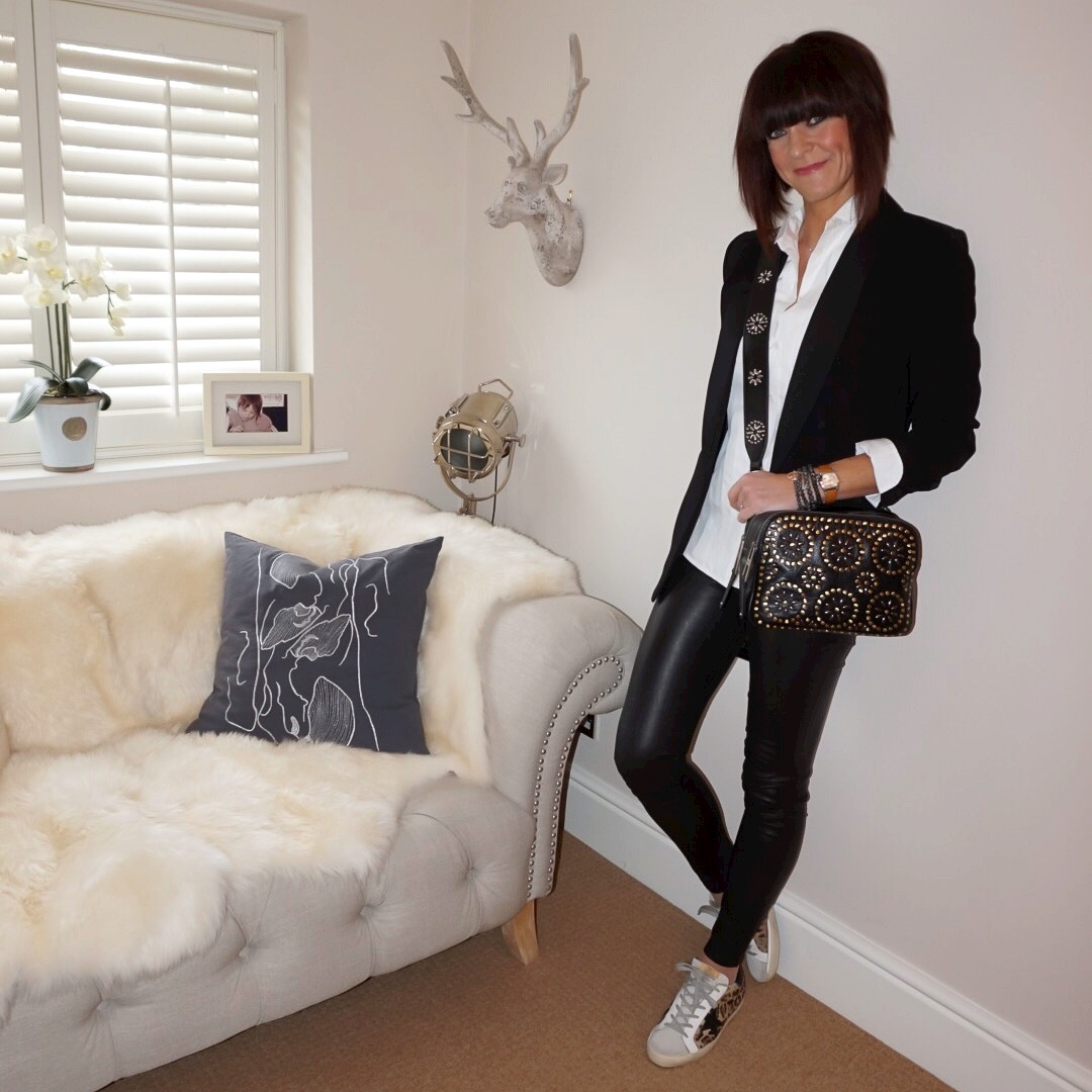 my midlife fashion, j crew tuxedo shirt, fenn wright manson darling tuxedo jacket, massimo dutti leather leggings, village england pemberton leather cross body bag, golden goose superstar low top leopard print trainers