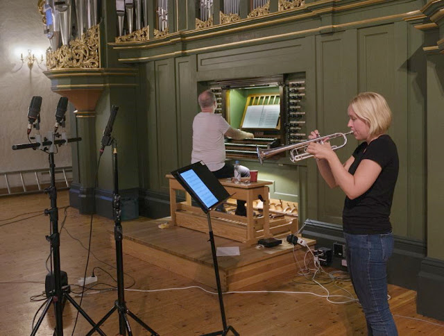 Tine Ting Helseth and Kåre Nordstoga recording 'Magical Memories' in Oslo Cathedral
