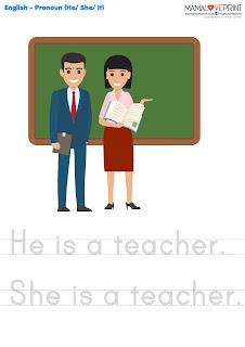 Mama Love Print 自製工作紙 - 英文代詞 Pronoun (he , she , it ) - 英文幼稚園工作紙  Kindergarten English Worksheet Free Download
