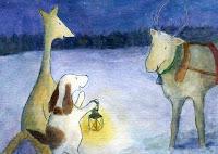 Postcard illustration of Hulmu Hukka and Haukku Spaniel meeting a reindeer of a Santa Claus in a winter evening
