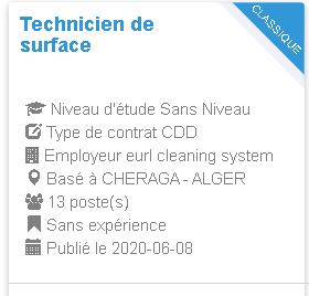 eurl cleaning system Technicien de surface CHERAGA - ALGER