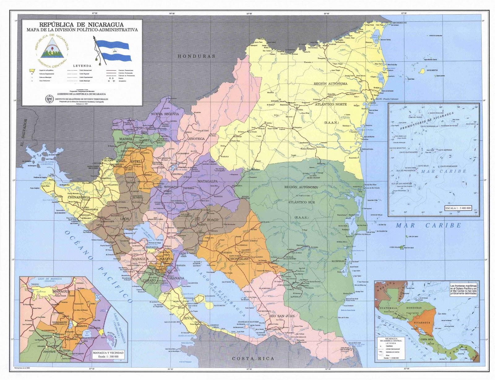 Nicarágua | Mapas Geográficos da Nicarágua