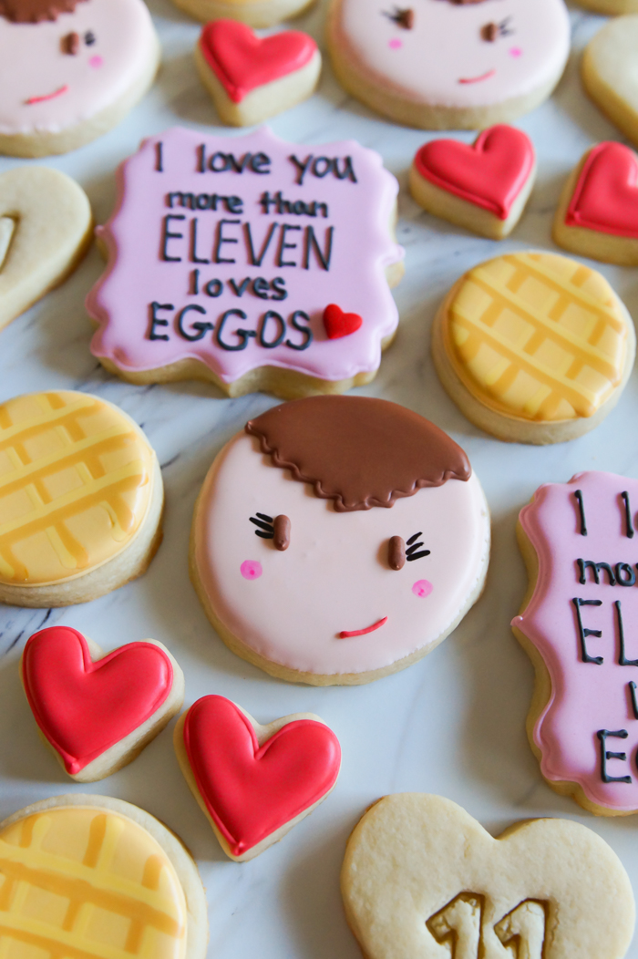 """""""I love you more than Eleven loves Eggos"""" : Stranger Things Valentine Decorated Cookies, decorating tutorial   bakeat350.net"""
