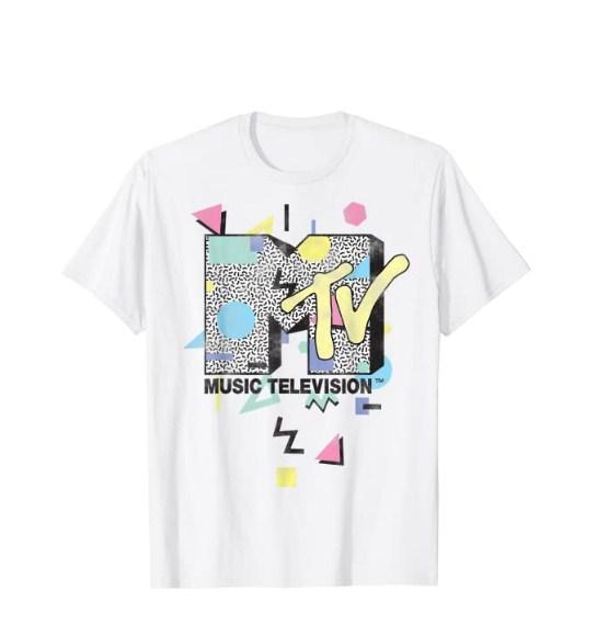 mtv retro shape design logo graphic t-shirt