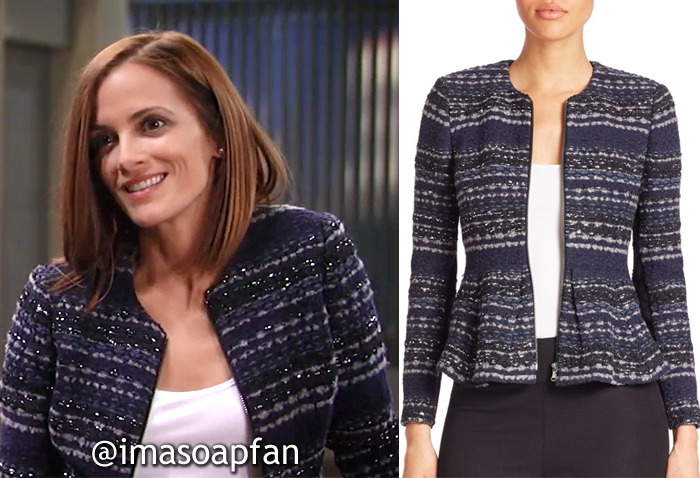 Hayden Barnes, Rebecca Budig, Navy Blue Tweed Jacket, Rebecca Taylor, General Hospital, GH