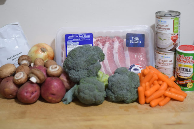 The ingredients needed to make the crockpot pork chop dinner recipe.