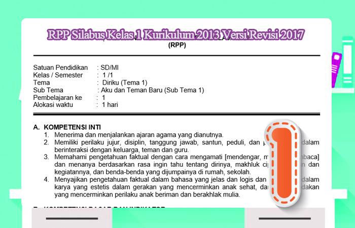 RPP Silabus Kelas 1 Kurikulum 2013 Versi Revisi 2017