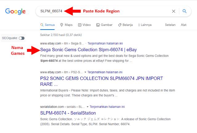 Cek Kode Region Game PS2 di Google