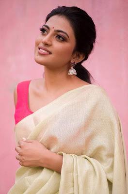 Kayal Anandhi Elegant Sleeveless Saree Pics