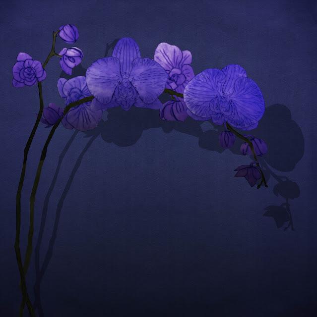 flor de orquidea, azul, dibujada