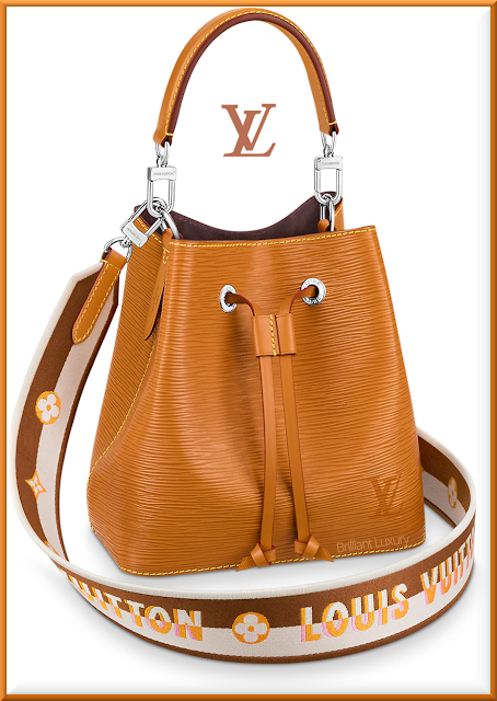Louis Vuitton NéoNoé BB bucket bag in gold miel with embroidered Jacquard strap #bags #louisvuitton #brilliantluxury