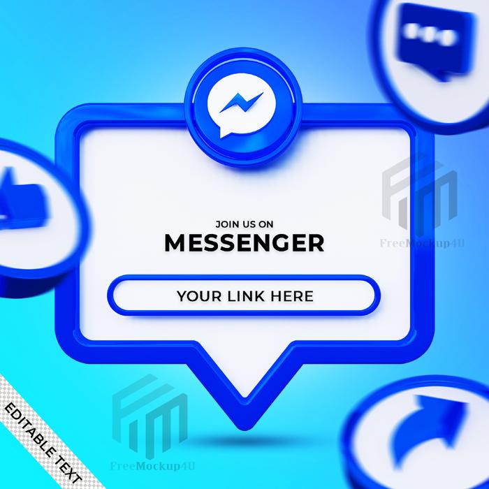 Follow Us Messenger Social Media Square Banner With 3D Logo Link Profile
