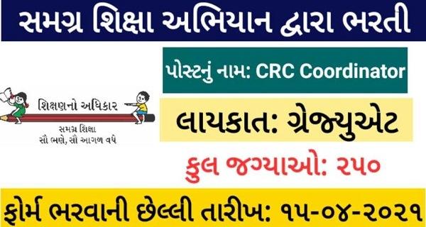 SSA Gujarat Recruitment 2021 for 250 CRC Coordinator Posts