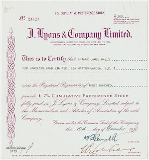 J. Lyons and  Company Limited stock certificate. A computer pioneer.