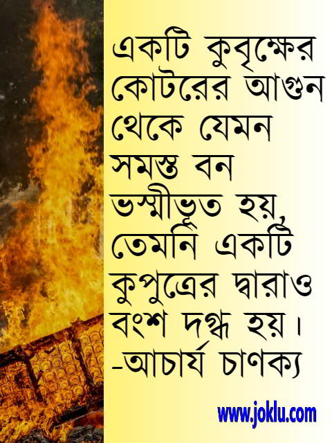 Bengali quote about dynasty by Chanakya