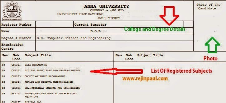 Anna University Exams April / May / June 2014 Hall Tickets Issue Date