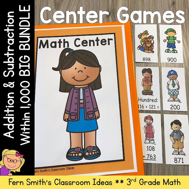 3rd Grade Go Math Chapter 1 Addition & Subtraction Within 1,000 Center Games Bundle