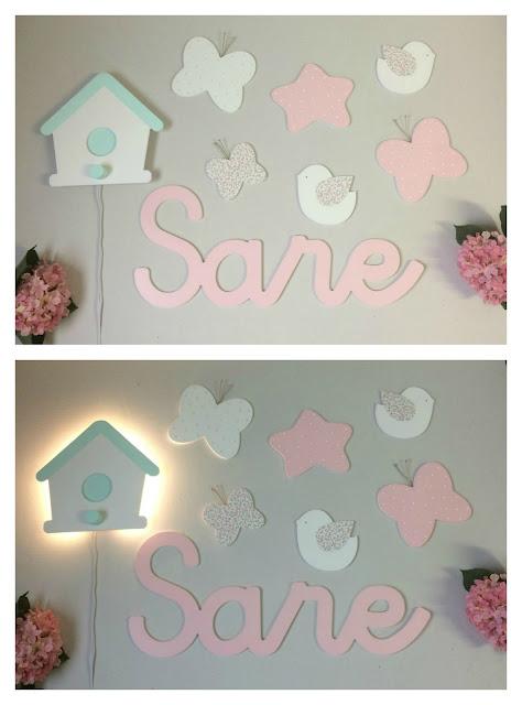 Decoración de pared infantil con letras para la pared, minisiluetas y luz quitamiedos, luz de noche