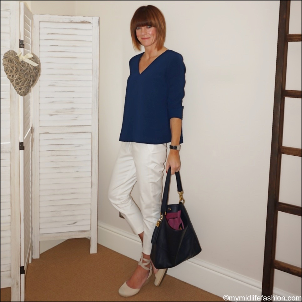 my midlife fashion, sesame 'v' neck swing blouse, Sarah Haran hazel boho bag, vionic espadrille wedge sandals, marks and Spencer Mia slim cropped trousers