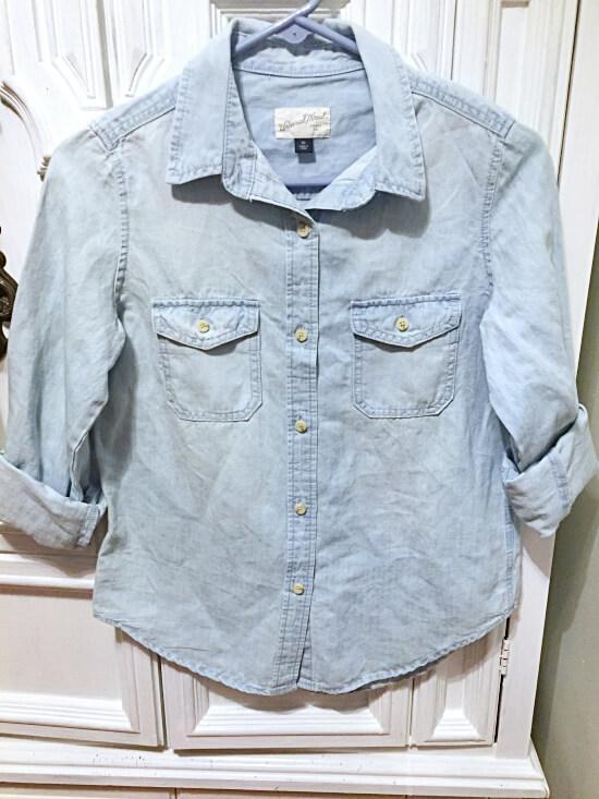 Target Universal Thread light wash denim shirt