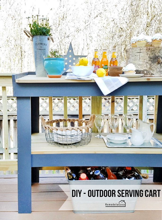 grey and wood tone serving cart with easy to make plans