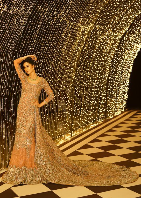 Gold and peach Pakistani bridal gown Victoria by Sara Rohale Asghar USUK INDIA and Canada