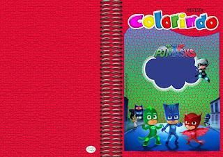 Imprimible carátula de libro para colorear de Super héroes en Pijamas.