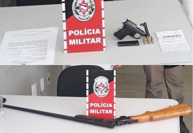 Policiais Militares da 4ª C.I.A do 3º B.P.M prende dois suspeitos e apreende armas, na região de Teixeira PB